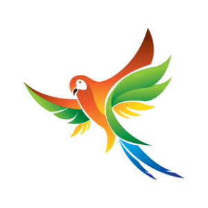 Macaw bird flying