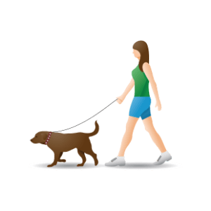 lady walking with her dog